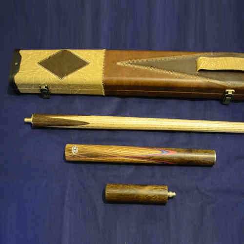 Handcrafted 3/4 piece Ash Snooker/Pool Cue with Leather Cue Case and 15CM Screw in Mini-Butt.