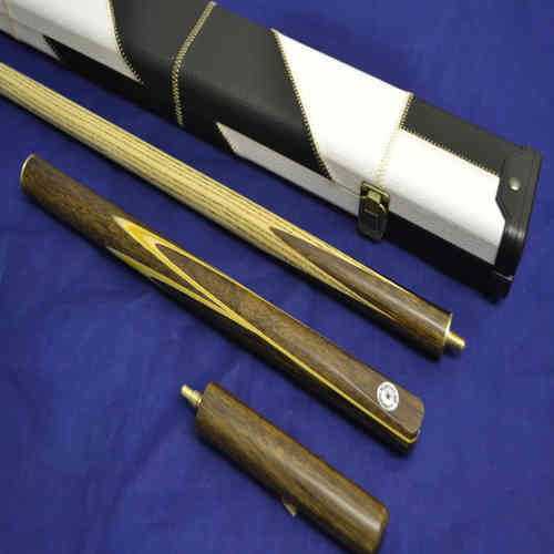 "Handcrafted 3/4 Rosewood Inlayed Butt, Ash Shaft Snooker Cue, White and Black Case, 6"" Mini-Butt."