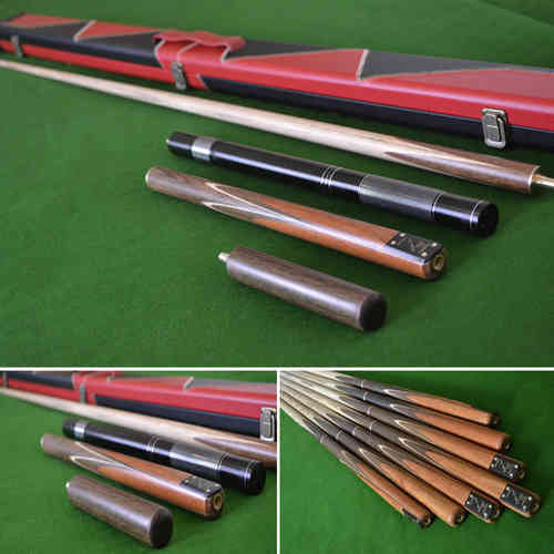 "58.5"" Handmade 4 piece Snooker Cue with a Rosewood Butt, Black and Red Case, Extension, 6"" Mini-Butt"