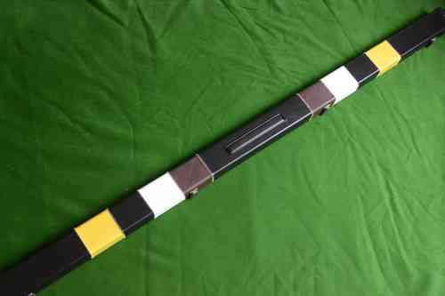 1 Piece Deluxe Design Snooker Cue Case - Space for 2 Cues - Black/Yellow/White/Brown