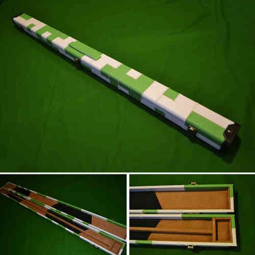 Handmade 3/4 Patchwork Style Snooker Cue Case - Green/White