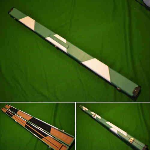 Handmade 3/4 Patch Style Snooker Cue Case - Green/White