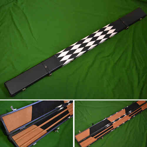 Handmade 1 Piece Wide Snooker Cue Case - Black/White - (Holds 3 x 1 Piece Cues)