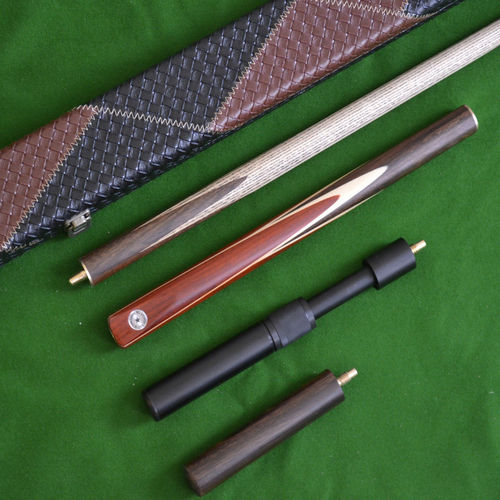 Handmade 4 Piece Snooker Cue Set with Leather Case, Telescopic Extension and Mini Butt