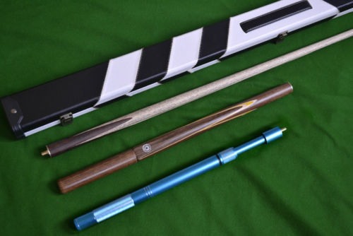Handmade 57.1 Inch 3/4 Piece Ash Shaft Snooker Cue Set with Extensions and Deluxe Hard Case