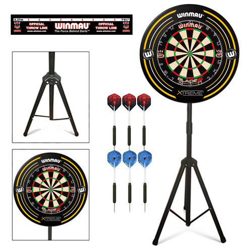 Complete Darts Set with Portable Stand, Winmau Blade 5 Dartboard, Surround and Darts