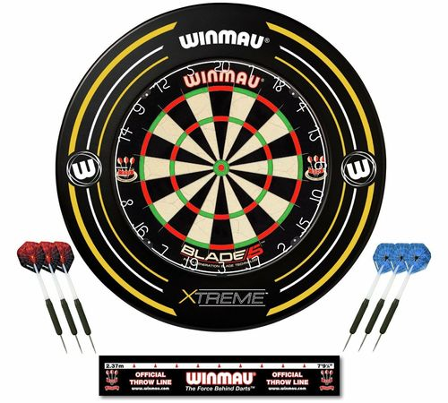 Winmau Blade 5 Dartboard and Xtreme Surround Set with Darts and Oche