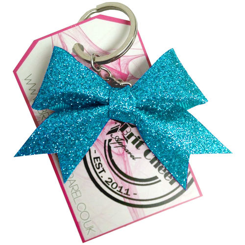 All Glitter Turquoise Dinky Bow Key Ring