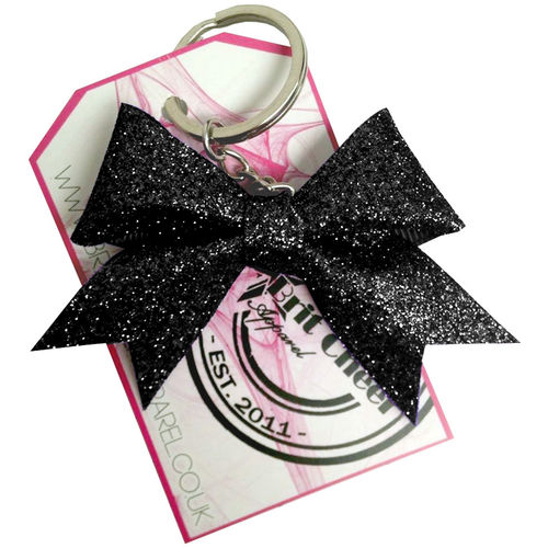 All Glitter Black Dinky Bow Key Ring