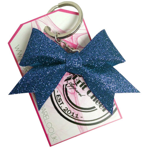 All Glitter Navy Dinky Bow Key Ring