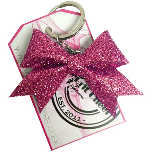All Glitter Antique Rose Dinky Bow Key Ring