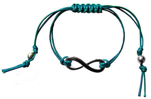 Infinity Bracelet in Silver and Dark Turquoise