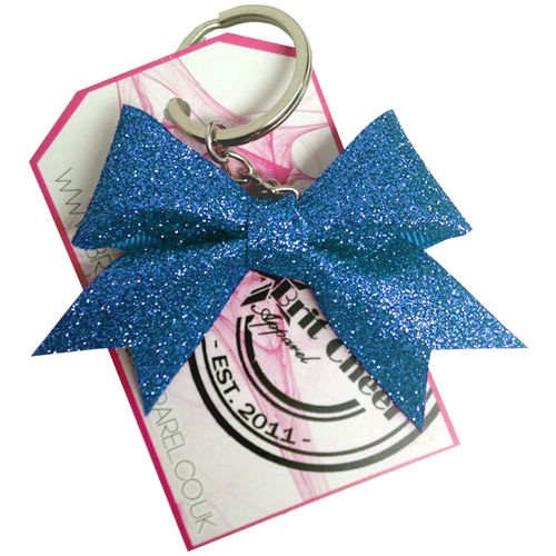 All Glitter Blue Dinky Bow Key Ring