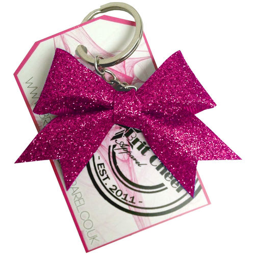 All Glitter Cherry Pink Dinky Bow Key Ring