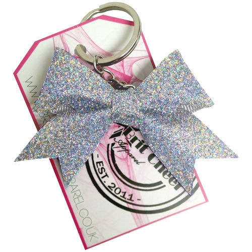 All Glitter Holo Silver Dinky Bow Key Ring