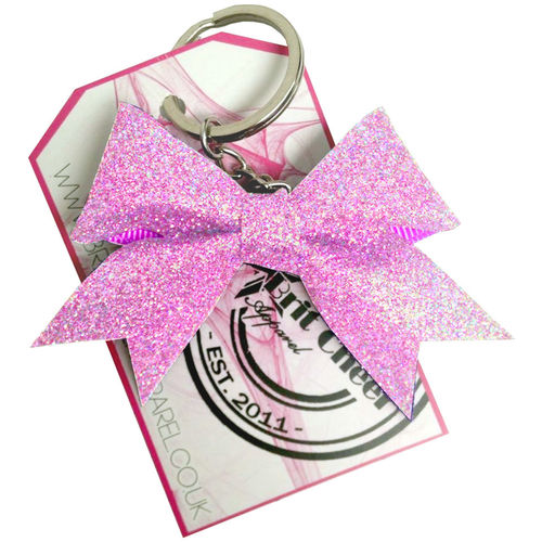 All Glitter Holographic Pink Dinky Bow Key Ring