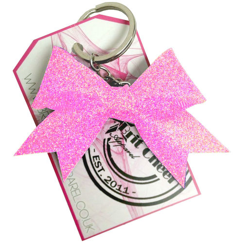 All Glitter Neon Pink Dinky Bow Key Ring