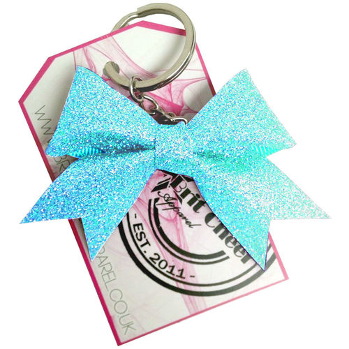 All Glitter Neon Blue Dinky Bow Key Ring