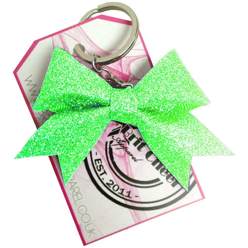 All Glitter Neon Green Dinky Bow Key Ring