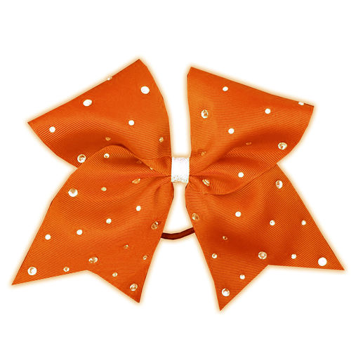 Grosgrain Orange Rhinestone Bow
