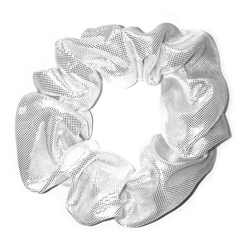 White Scrunchie with Silver Dots