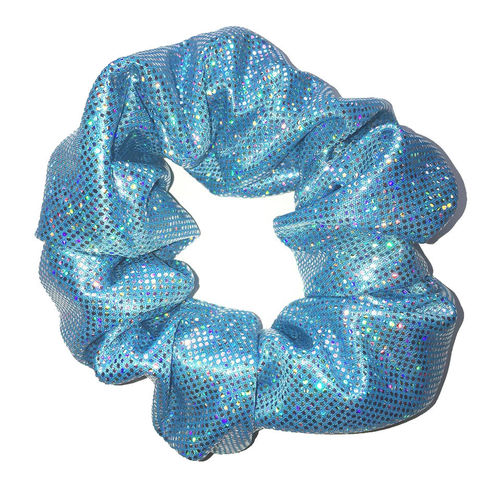 Light Blue Scrunchie with Holo Dots